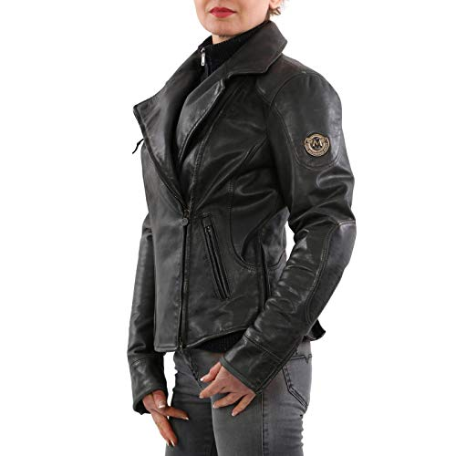 Matchless Damen Biker Leder Jacke PM SOHO Blouson Antique Black 423102 Größe (42) S
