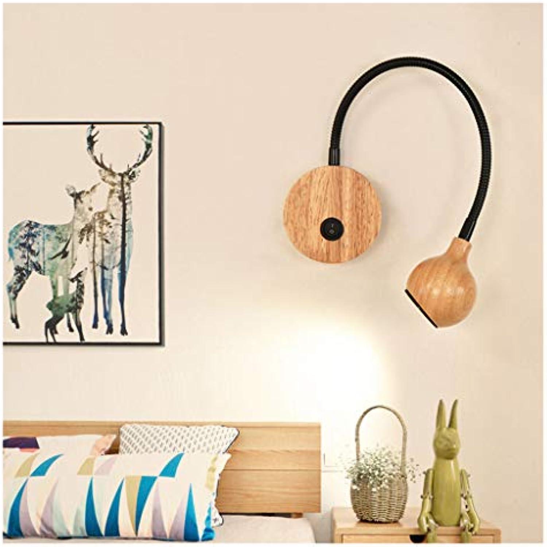 HN Lighting LED Wandleuchte Schlafzimmer Schlauch Nachttischlampe Massivholz Kreative Leselampe, Schwanenhals Wandleuchte (Farbe   Schwarz)