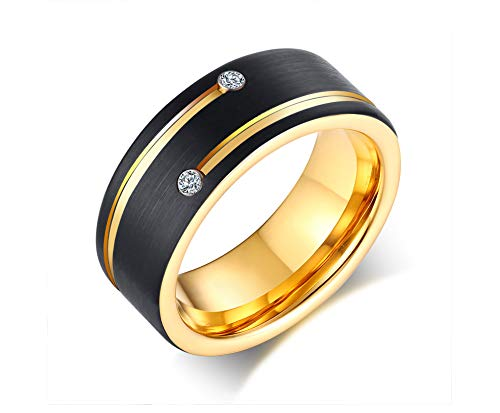 VNOX 8mm Two-Tone Black and Gold Plated Tungsten Carbide 3A Cubic Zirconia Two Grooves Line Brushed Finish Wedding Band Ring for Men Boys,Size N 1/2-X 1/2