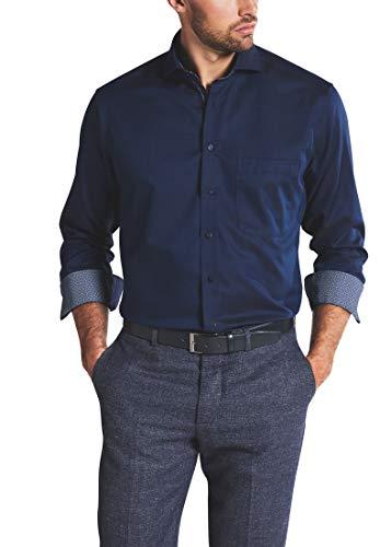 eterna Langarm Hemd Comfort Fit Twill strukturiert, Marine, 43
