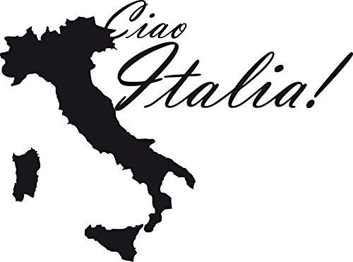 GRAZDesign Wanddekoration Wandtattoo Ciao Italia - Wandtatoo Landkarte - Geschenke für Eltern Reisen - Wanddeko Italien / 54x40cm / 070 schwarz