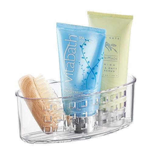 iDesign Basic Duschkorb, Duschzubehör ohne Bohren mit Saugnapf aus Kunststoff, durchsichtig