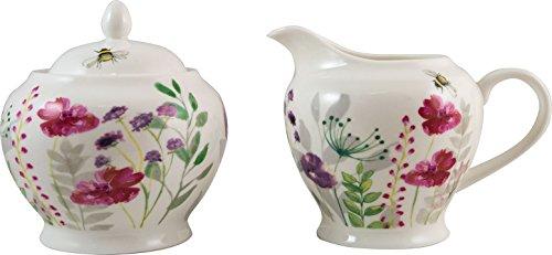 Englisch Geschirr Co. in Bloom feines Porzellan Milchkännchen & Zuckerdose mit Deckel, Set in Geschenkbox
