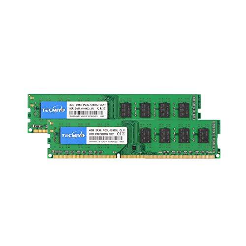 TECMIYO 8GB Kit (2x4GB) PC3 12800 DDR3 1600 CL11 1.5V 240Pin
