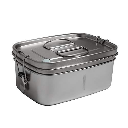 Afranti Boîte à Bento en Acier Inoxydable, Boîte à Lunch Déjeuner 2 Couches pour Enfants et Adultes, sans BPA, Lunch Box pour le Pique-nique École Travail