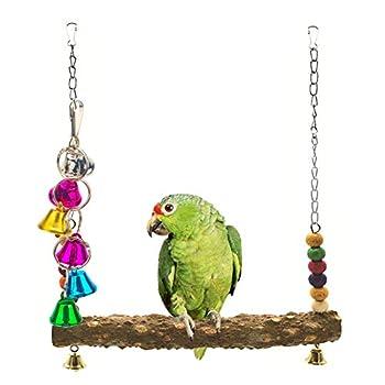 NAMIS Balançoire en Bois pour Oiseau, Balançoire Perroquet e Poulet, Jouets pour Oiseaux en Bois Naturel, Balançoires à Oiseaux pour perroquets, perruches, Poulets, aras et Grands Oiseaux