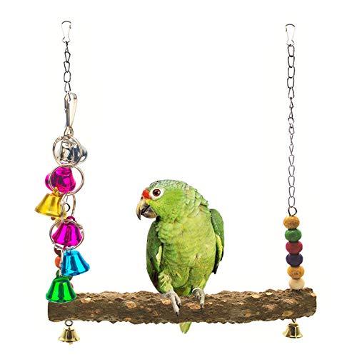 NAMIS Columpio de Pájaro, Juguetes de Campanas de Pájaro, Juguete de Percha de Pájaro de Madera, Juguetes para pájaro,periquitos,pequeños,cacatúas,Conure,guacamayos,Loros,pájaros del Amor,pinzones