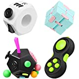 Sumind 4 Pieces Handheld Mini Fidget Toy Set Include 12-Side Fidget Toy Cube, Infinity Cube, Cam Fidget Controller Pad, Decompression Ring for Teens, Adults to Relieve Pressure, Anxiety