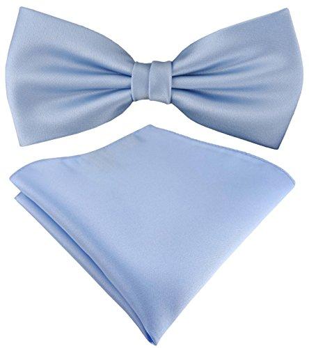 TigerTie Satin Fliege Einstecktuch in hellblau Uni einfarbig + Aufbewahrungsbox