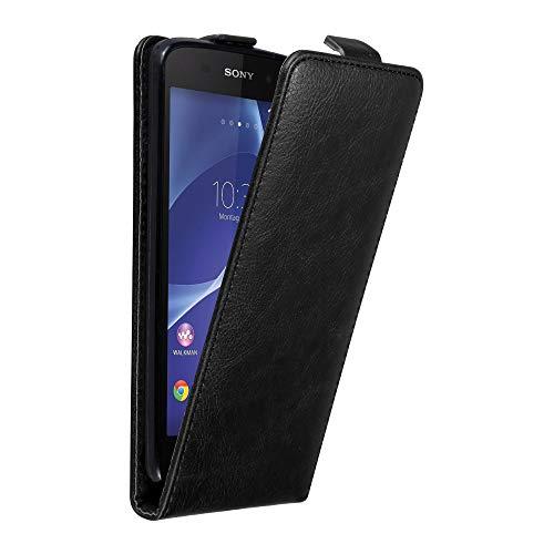 Cadorabo Hülle für Sony Xperia Z2 in Nacht SCHWARZ - Handyhülle im Flip Design mit unsichtbarem Magnetverschluss - Hülle Cover Schutzhülle Etui Tasche Book Klapp Style