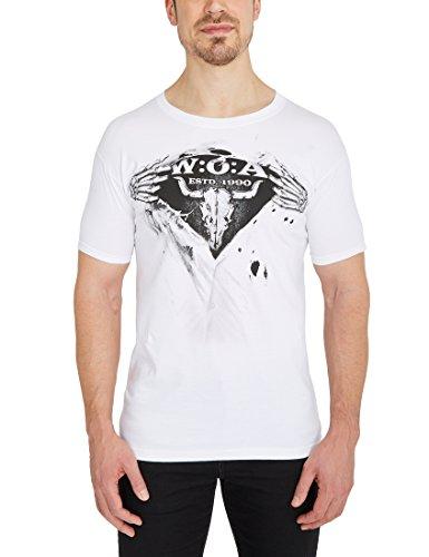 W:O:A – Wacken Open Air Herren T-Shirt Hands Ripped, Shirt mit Rundhalsausschnitt, Frontprint, Bullhead mit Skeletthänden, aus Baumwolle, M