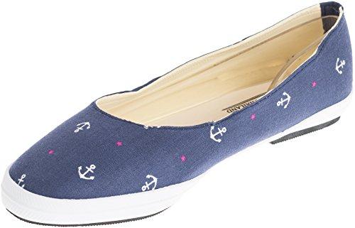 Damen Schuhe Sailor Anker Ballerinas Ballerinas (38 EU, Dunkelblau mit weißen Ankern und pinken Sternchen)