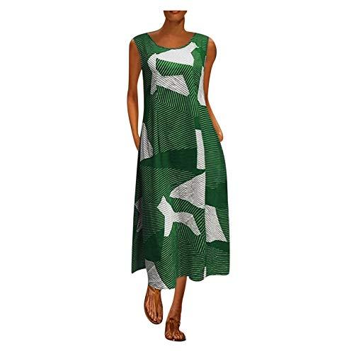 Dasongff Kaftan Kleid Damen Lang Maxikleider Mittelalter Boho Maxikleid Langarm Boho Kleider mit Taschen Freizeitkleid Vintage Baggy Etuikleid Leinenoptik Langes Tunika Kleider