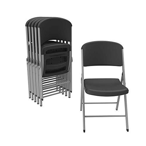 Lifetime 80844 Classic Folding Chair, 6 Pack, Black