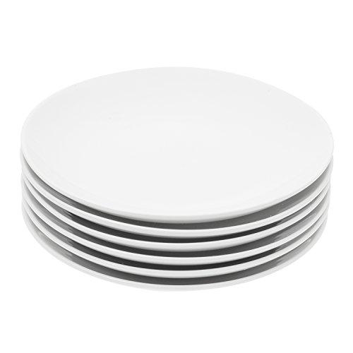 Miicol Durable Porcelain 6-Piece Dessert Plate Set, Elegant White Serving Plates (6-inch dessert plates)