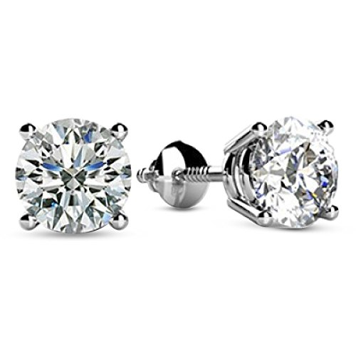 2 Carat 14K White Gold Solitaire Diamond Stud Earrings Round Cut 4 Prong Screw Back (I-J Color, I1-I2 Clarity)
