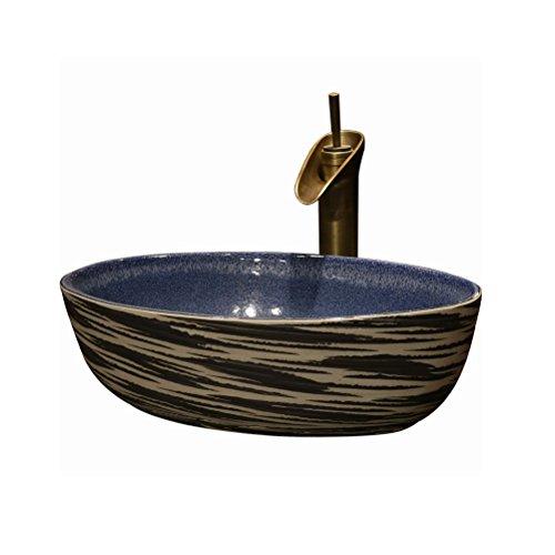 Badkuip ZI LING SHOP- Retro keramische wastafel boven Counter Basin diepe wastafel Ovaal Basin Art Basin Badkamer Boven Counter Basin(47.5x31x14cm)