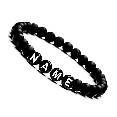 Armband mit Namen Personalisiert | Personalisierbare Perlen Armbänder für Pärchen | Onyx Perlenarmband für Paare I Partnerarmband mit Wunschgravur | Freundschaftsarmband