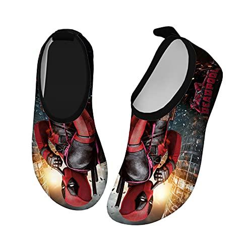 Super Hero Funny Deadpool Lightweight Kids Water Shoes Quick Dry Barefoot Aqua Sock Beach Swim Pool Sandals Shoes for Boys Girls