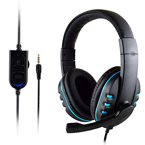 Surround Gaming Headset, Gaming Headset for Ps4, with Mic and Noise Cancelling&Volume Control, 7.1 Surround Sound, Headphones Stereo Over Ear Bass 3.5Mm, for Pc, Mac, Laptop,Blue