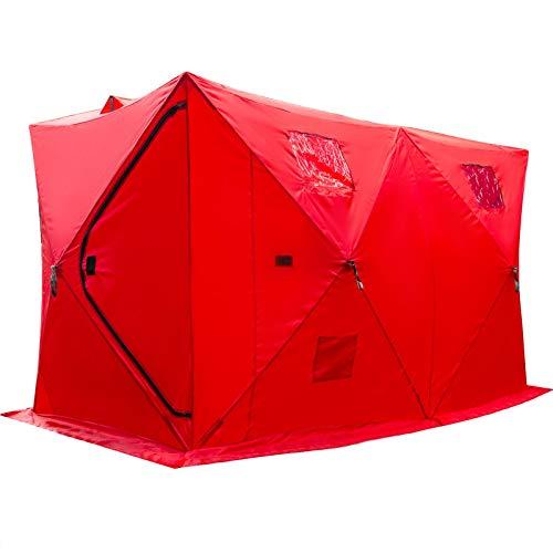 VEVOR Refugios de Pesca en Hielo Tienda de Pesca de Invierno Tienda de Refugio Portátil Impermeable Carpa Tienda de Pesca de Hielo para 8 Personas Color Rojo