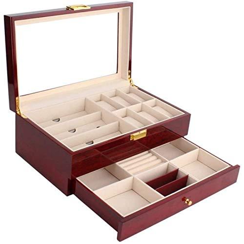 ANZRY Caja de Almacenamiento de Relojes Caja de Almacenamiento de Relojes de Joyería de 2 Capas con Tapa y Bandeja de Brazalete para Guardar Relojes y Joyas