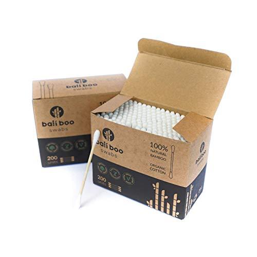 Bastoncillos de Oidos de Bambu y Algodon Organico de Bali Boo | Pack de 200 | Bastoncillos ecologicos y biodegradables de bambu y algodon organico | Palillos para limpieza de oidos | 100% sost