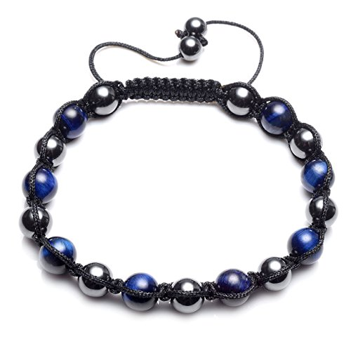 CrystalTears Women Mens Hematite Magnetic Therapy Bracelet Blue Tigers Eye Beads Reiki Healing Energy Stone Braided Bracelet for Pain Relief
