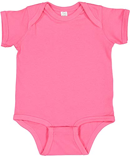 Rabbit Skins Infant 100% Cotton Jersey Lap Shoulder Short Sleeve Bodysuit (Hot Pink, 6 Months)