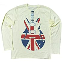 Rock Style ユニオンジャックでレスポールギターロングスリーブ UNION JACK WEAPON (S, SHERBETYELLOW)