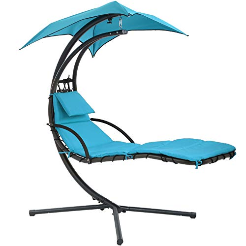 FDW Patio Chair Hanging Lounge Chair Hanging Chaise Lounger Chair Floating Chaise Canopy Swing Lounge Chair w/Built-in Pillow and Removable Canopy Hammock Arc Stand Air Porch Stand (Blue)