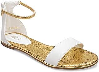 tresmode Women's Gatta White Flat Gold Ankle Straps Sandals