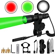 LUMENSHOOTER S2plus Premium Scope Mounted Hunting Light Kit, Interchangeable Green Red White LED Modules, High Power Zoomable Flashlight Torch for Coyote, Predator, Varmint, Coon& Hog
