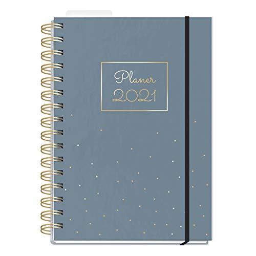 Organizer 2021 A5 | Wochenplaner 2 Seiten pro Woche | Kalender Ringbuch mit Hardcover und Lesezeichen | Terminkalender, Terminplaner 2021 mit vielen Extras