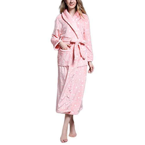 Damen und Herren Morgenmantel Mit Kapuze - Fleece Morgenmantel Lang Winter Warm Weich Fleece - Super Flauschiger Morgenmantel Pink L