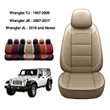 OASIS AUTO Wrangler JK 2008 2009 2010 Unlimited, Sahara, Sport, X, Custom Exact Fit PU Leather Seat Covers Accessories Full Set (4DR, TAN)