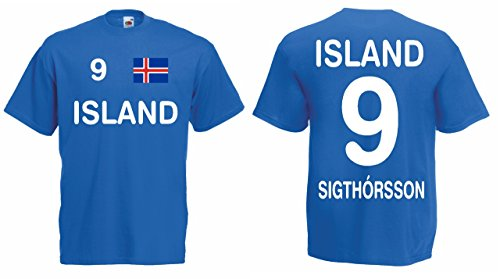 Fruit of the Loom Island EM 2016 Trikot Sigthorsson Fanshirt T-Shirt|blau-M|KT12