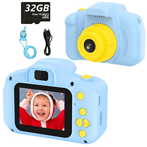 Kids Camera Toy Toddler Digital Camera Kids Toys Kids Gift 2 inch HD Screen 1080P 32GB TF Card Gifts Toy for 3 to 12 Years Old Boys and Girls Birthday (blue)