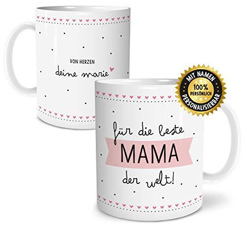 OWLBOOK Beste Mama große Kaffee-Tasse mit Namen personalisiert im Geschenkkarton Geschenkidee Geschenke Muttertag Muttertagsgeschenk für Mutti Mutter