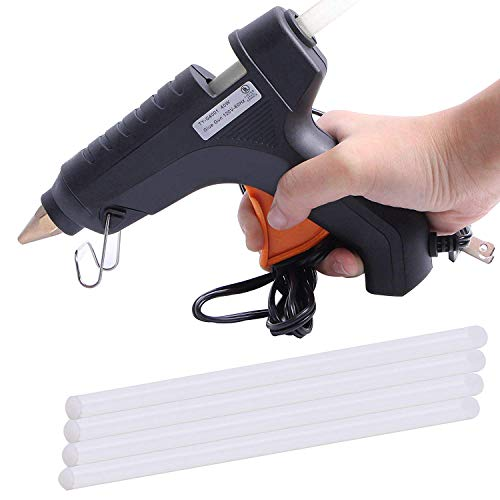 Sahufy Metal Hot Melt Glue Gun for DIY Craft & Decoration 40W with On Off Switch High Flow with 4 Gluestick (Multicolor, Small, Htglvegn)
