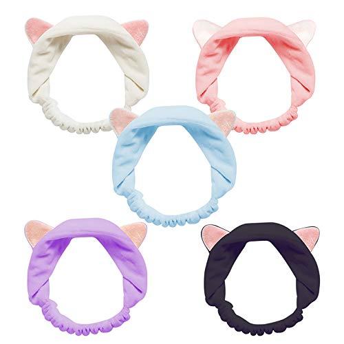 Cat Ears Headbands, Teenitor Elastic Women's Lovely Etti Hair Band, Wash Face Spa Headband-Washable Facial Band Makeup Wrap Headbands Christmas Gift Fits All Head Sizes, 5pcs