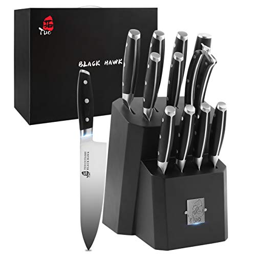TUO Kitchen Knife Set - 12 Pcs Knife Set with Wooden Block - Premium Forged German Stainless Steel, Ergonomic Pakkawood Handle - BLACK HAWK SERIES with Gift Box