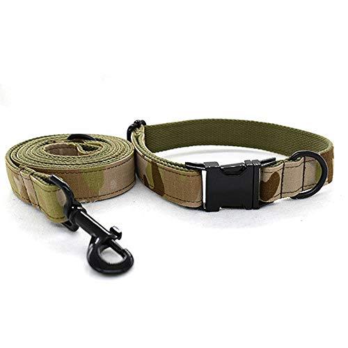 Home Wang Guinzaglio Canecollare per Cani Mimetico Verde Militare Collare per Cani Verde Militare Set Collare per Guinzaglio Collare per Cani-Un_L