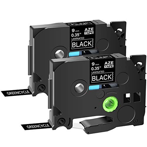 """GREENCYCLE Compatible for Brother TZe-325 AZE 325 TZ-325 TZ325 TZE 325 Laminated Label Tape White on Black 9mm (3/8"""") Width 8m (26.2ft) Length for P-Touch PT-D600 PTH110 PT-D200 PTD600 D400, 2 Pack"""