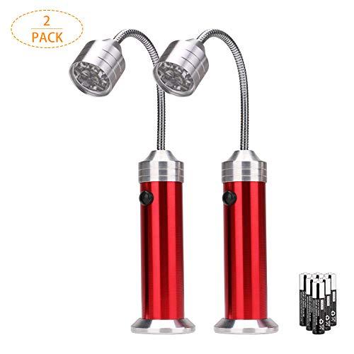 Coquimbo Grill Licht, Magnetische Grill Lampe LED BBQ Licht mit Flexibler Schwanenhals Superhelles Arbeitslicht für Grill, Camping, Party, 6 AAA Batterien (2 Stück, Rot)