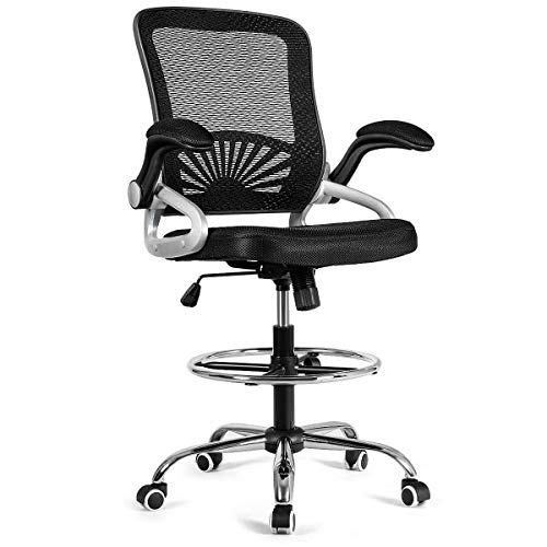 Giantex Mesh Drafting Chair Adjustable Height with Lumbar...