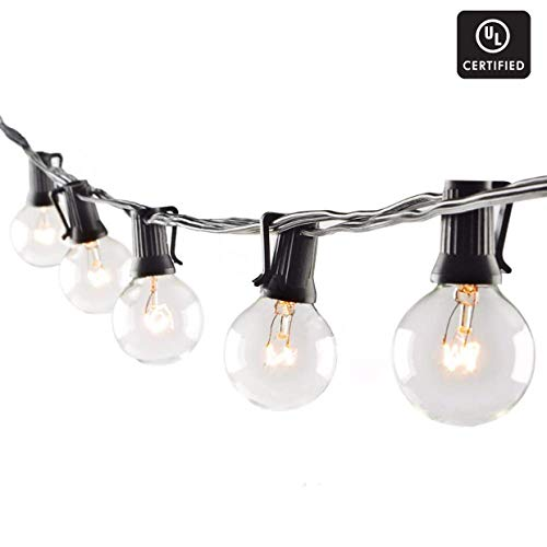 Goothy 25Ft Globe String Lights with G40 Bulbs (Plus 2 Extra Bulbs) UL Listed Backyard Patio Lights Garden Party Natural Warm Bulbs Cafe Hanging Umbrella Lights on Light String Indoor Outdoor-Black