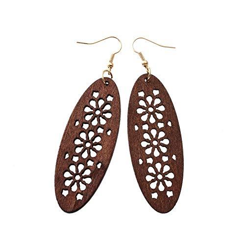 Pendientes de madera exagerados de moda, fuente de comercio exterior, pequeas joyas-marrn