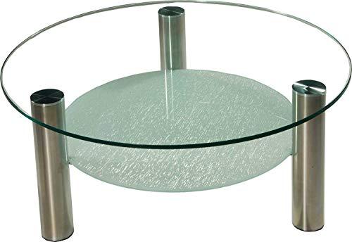 Darwin2326 Couchtisch mit einer 12mm starken Glasplatte. Ablage Verbundglasplatte in Crashglas-Optik. Stollen in 80mm rund Chrom gebürstet mit Rollen. Klarglas Größe: 90cm Rund Höhe: 42cm