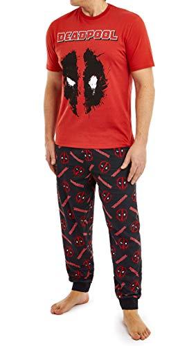 Marvel Deadpool Schlafanzug Herren, Pyjama 100% Baumwolle, Jungen Teenager Schlafanzug Herren Lang, Zweiteiliger T Shirt und Schlafhose Herren Lang Set, Geschenke für Männer (XL)